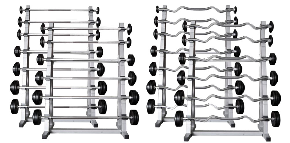 13 Straight Barbells and 13 Ez-Curl Barbells & Four Racks